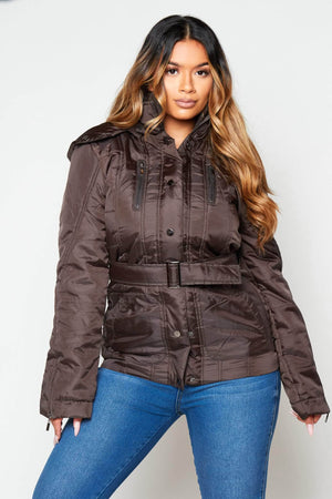 Brown Padded Puffer Coat with Hood