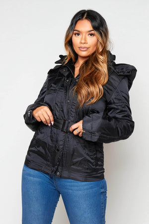 Black Padded Belted Puffer Coat