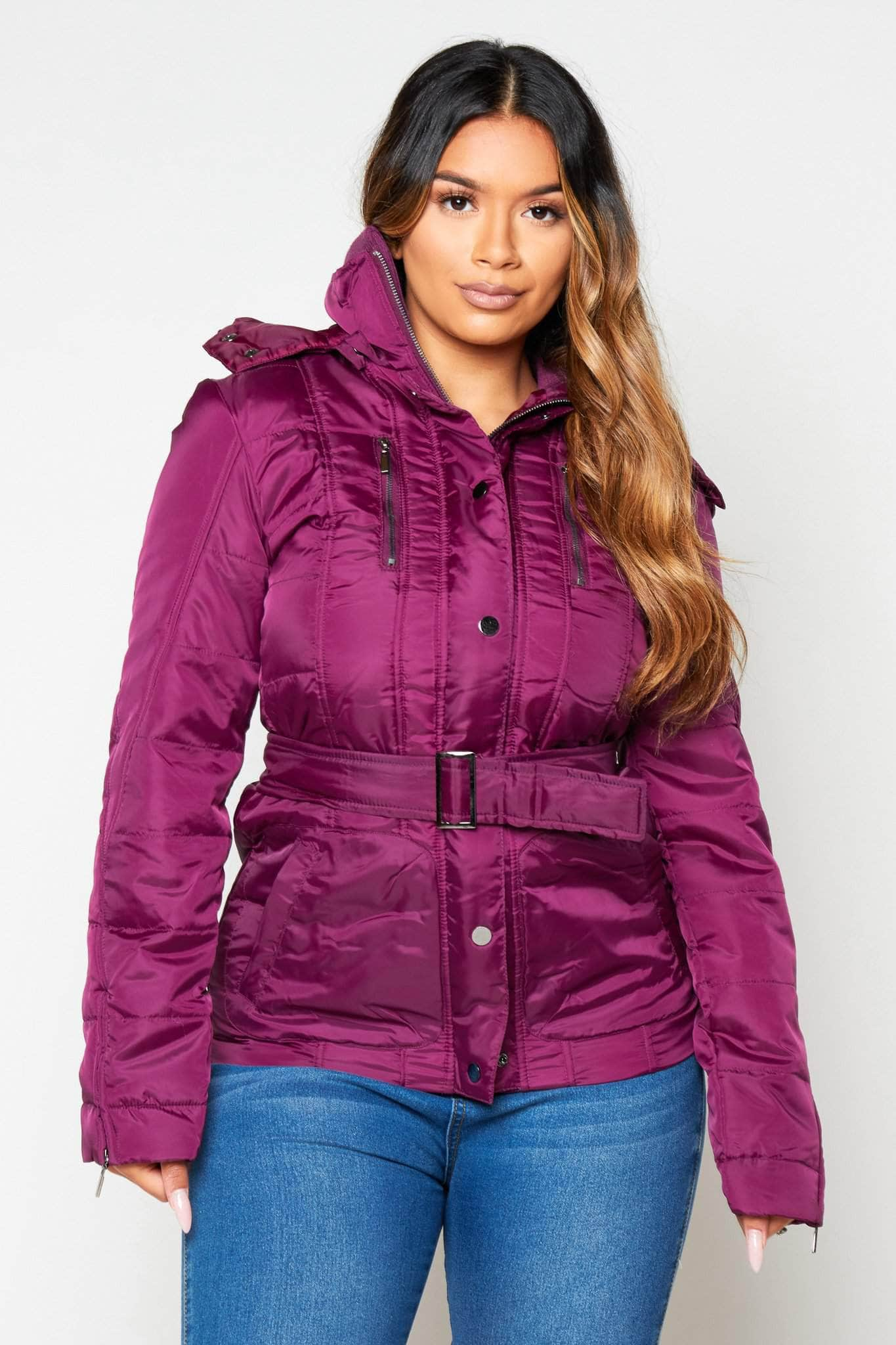 Plum Padded Puffer Coat with Hood