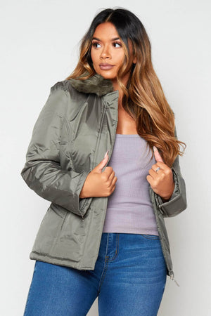 Green Puffer Jacket with Faux Fur Trim