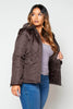 Brown Puffer Jacket with Faux Fur Trim