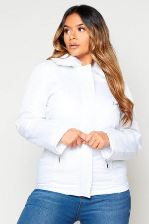 White Puffer Jacket with Faux Fur Trim