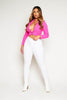 Neon Pink Blazer Crop Top
