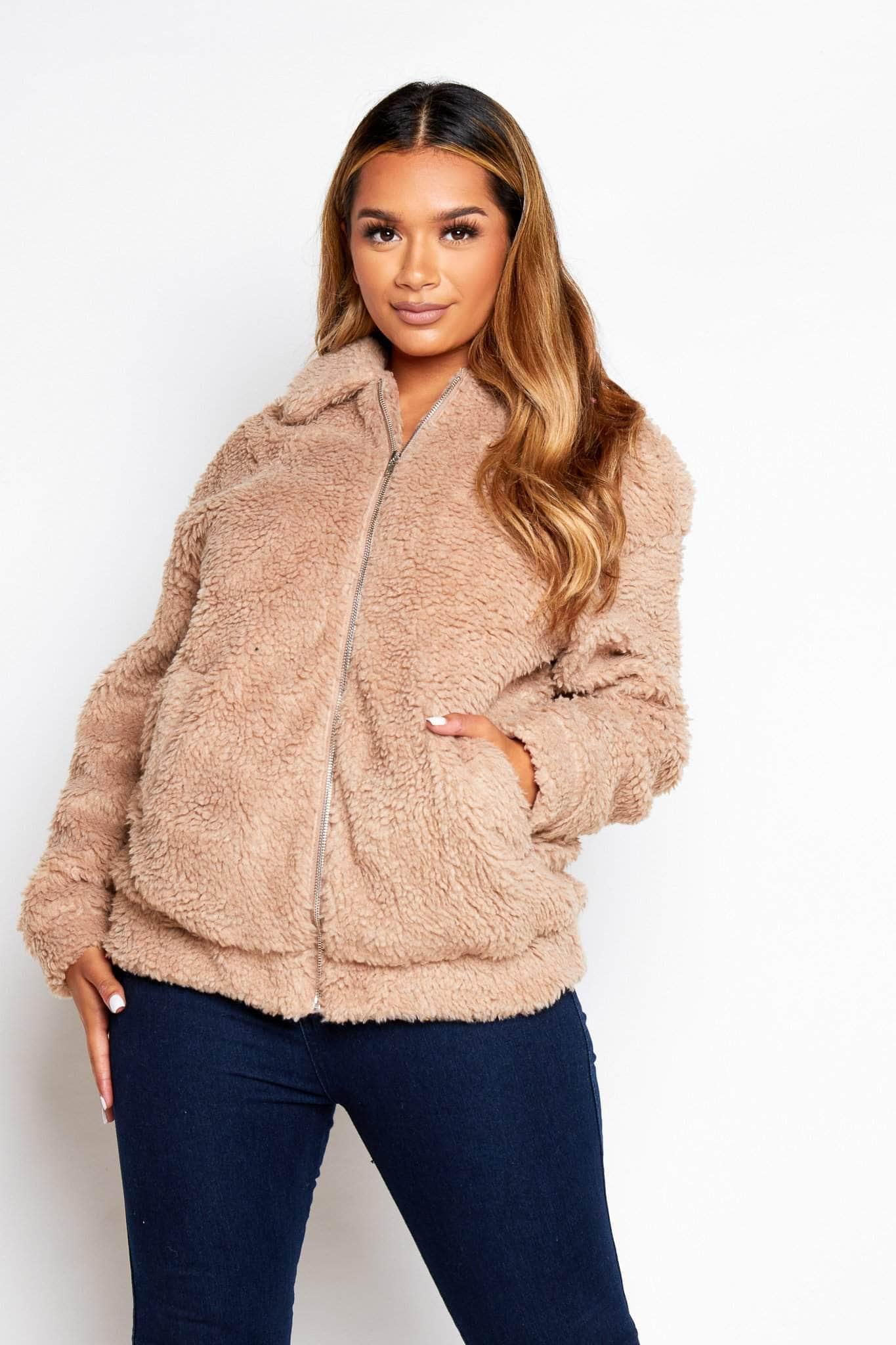 Beige Teddy Borg Jacket