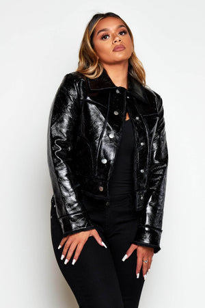 Black Cracked PVC Jacket