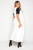 White Sleeveless Open Collar Duster Coat