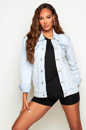 Oversize Boyfriend Light Wash Denim Jacket