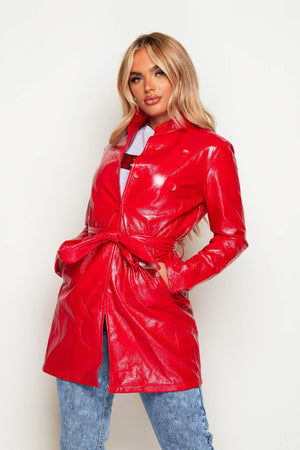Cracked Red Vinyl Trench Coat