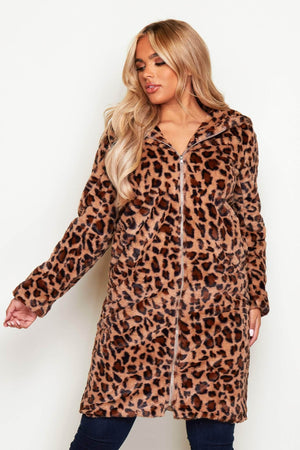 Leopard Faux Fur Longline Hooded Teddy Coat