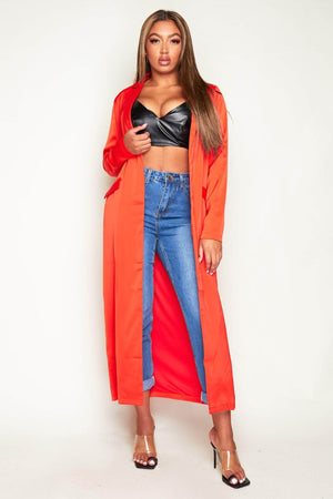 Red Maxi Satin Duster Coat