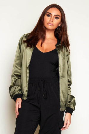 Green Satin Reversible Bomber Jacket