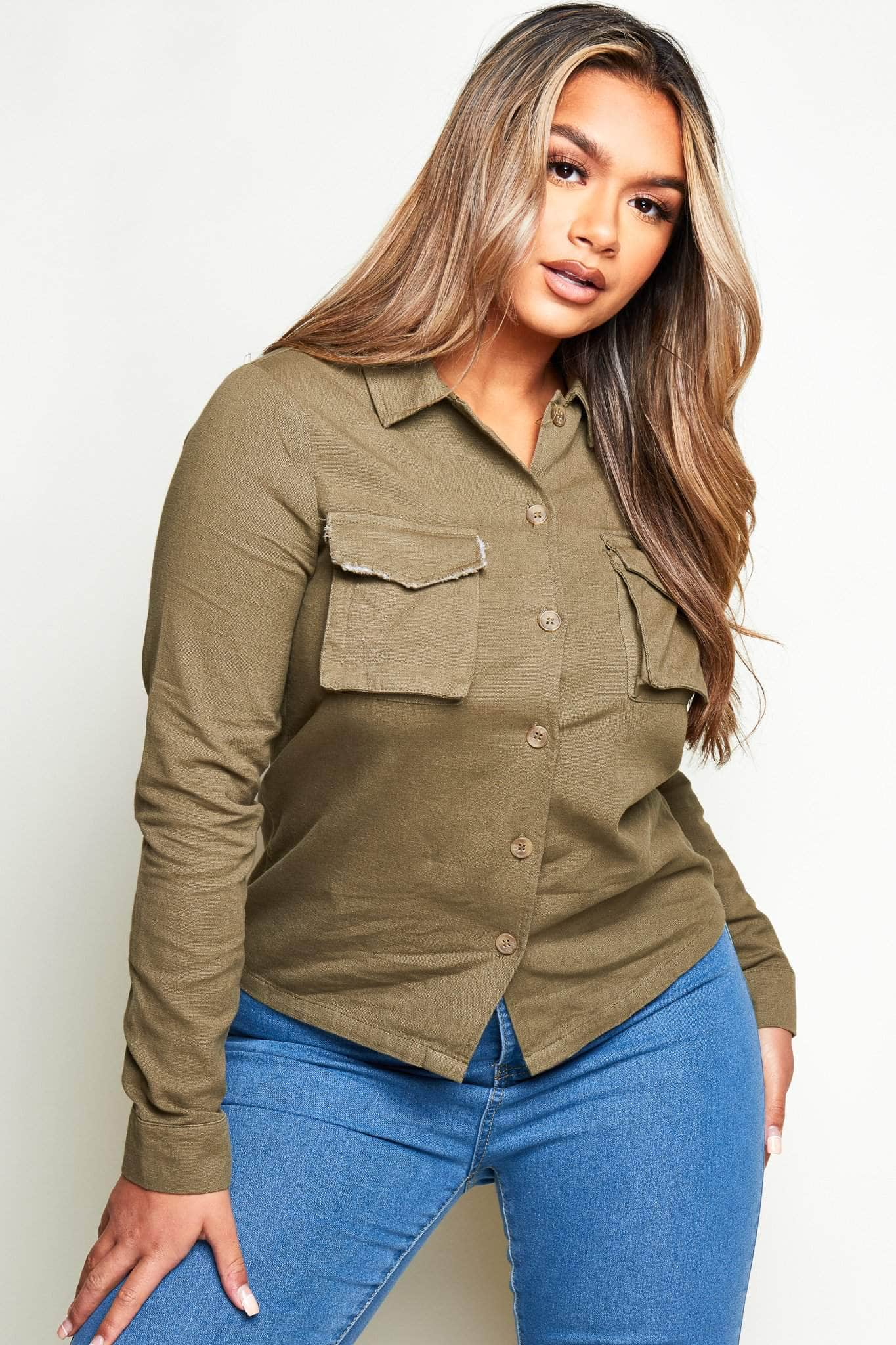Khaki 100% Cotton Utility Shirt