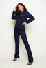 Navy Tailored Trousers with Split