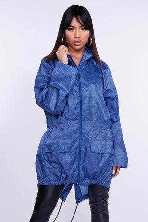 Blue Denim Look Hooded Raincoat