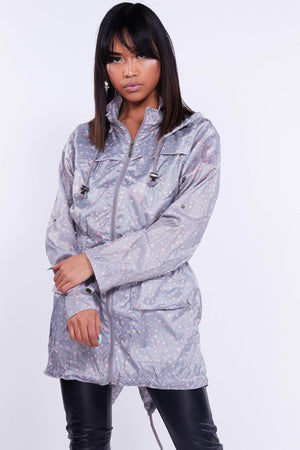 Grey Star Printed Hooded Raincoat