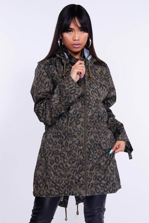 Green Leopard Print Hooded Raincoat