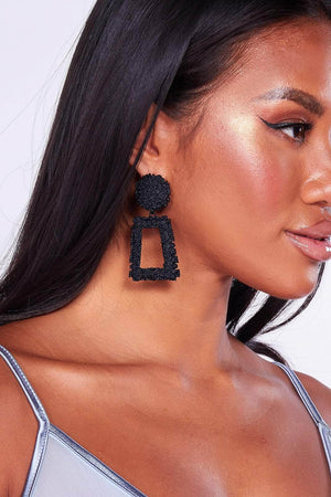 Black Textured Door Knocker Earrings