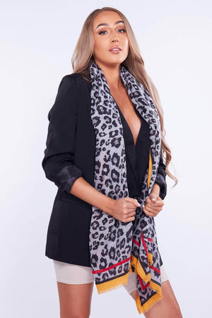 Black & Yellow Leopard Printed Scarf