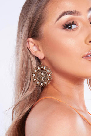 Gold Filagree Coin Earrings