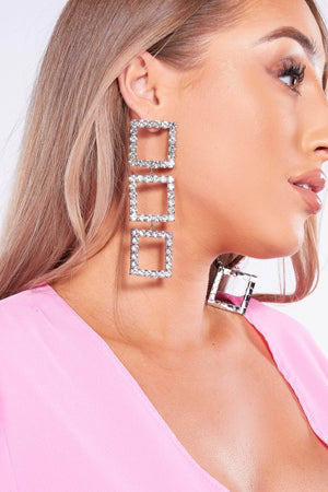 Silver Gem Triple Square Drop Earrings