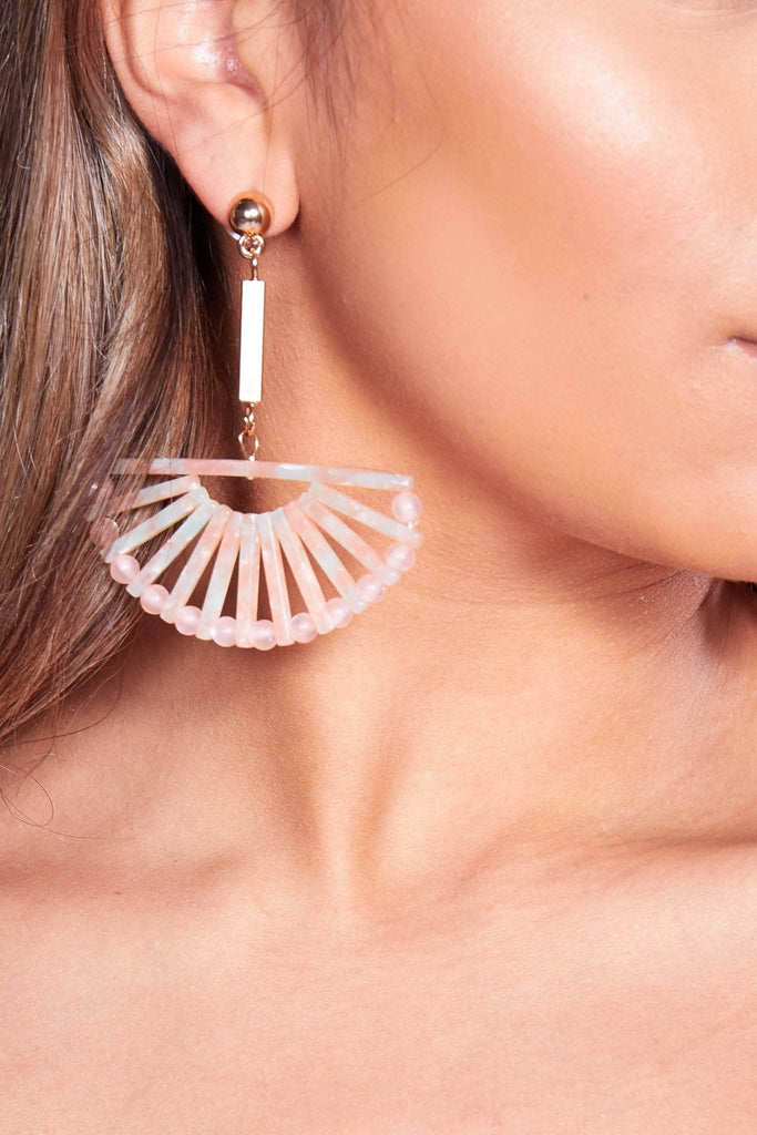 Pink Marble Half Moon Drop Earrings