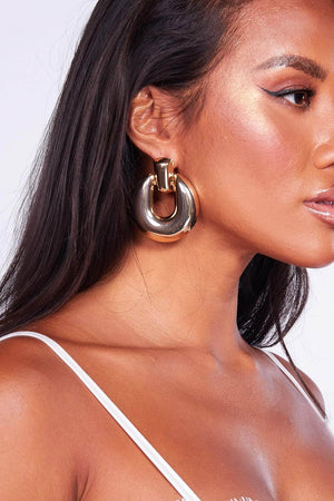 Chunky Gold Oval Earrings