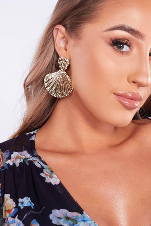 Gold Textured Shell Earrings