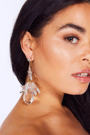 Clear Crystal Star Drop Earrings