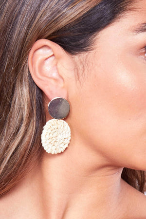 Straw Circle Earrings