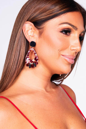 Red Marble Tear Drop Gem Earrings