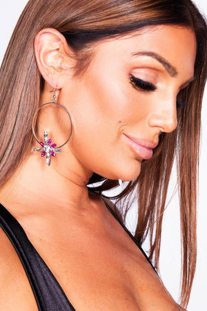Silver Hoops with Pink Gem Flowers