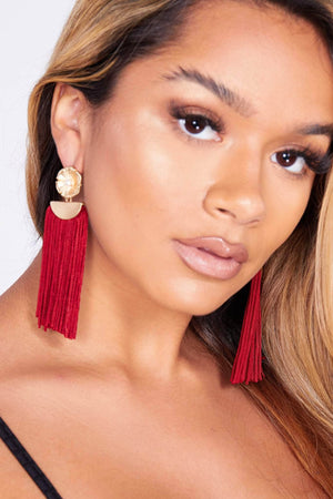Flower Stud Earrings with Red Tassels