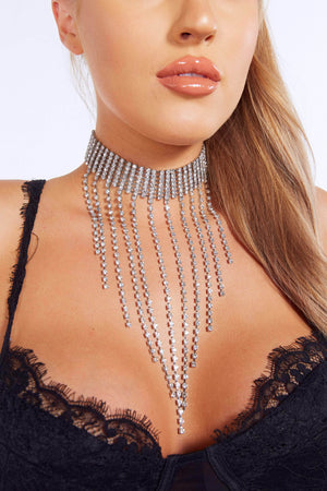 Diamante Tassel Drop Choker
