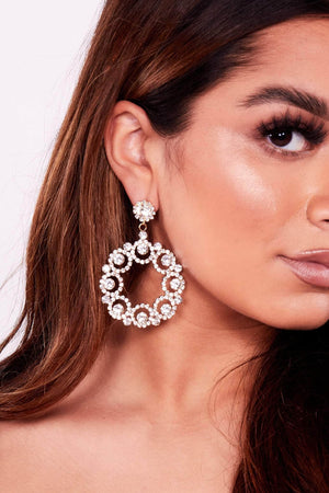 Gold Diamante Embellished Circle Earrings