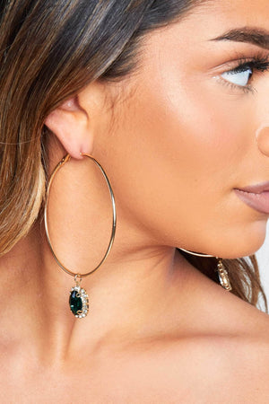 Green Gem Hoop Earrings