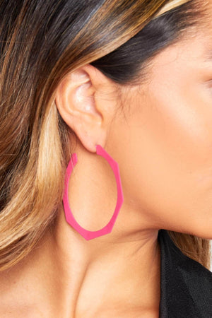 Pink Hexagon Earrings