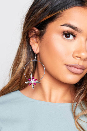 Pink Flower Gem Hoop Earrings
