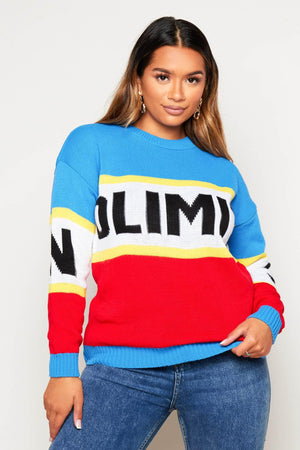 Chunky Colour Block Knitted Jumper