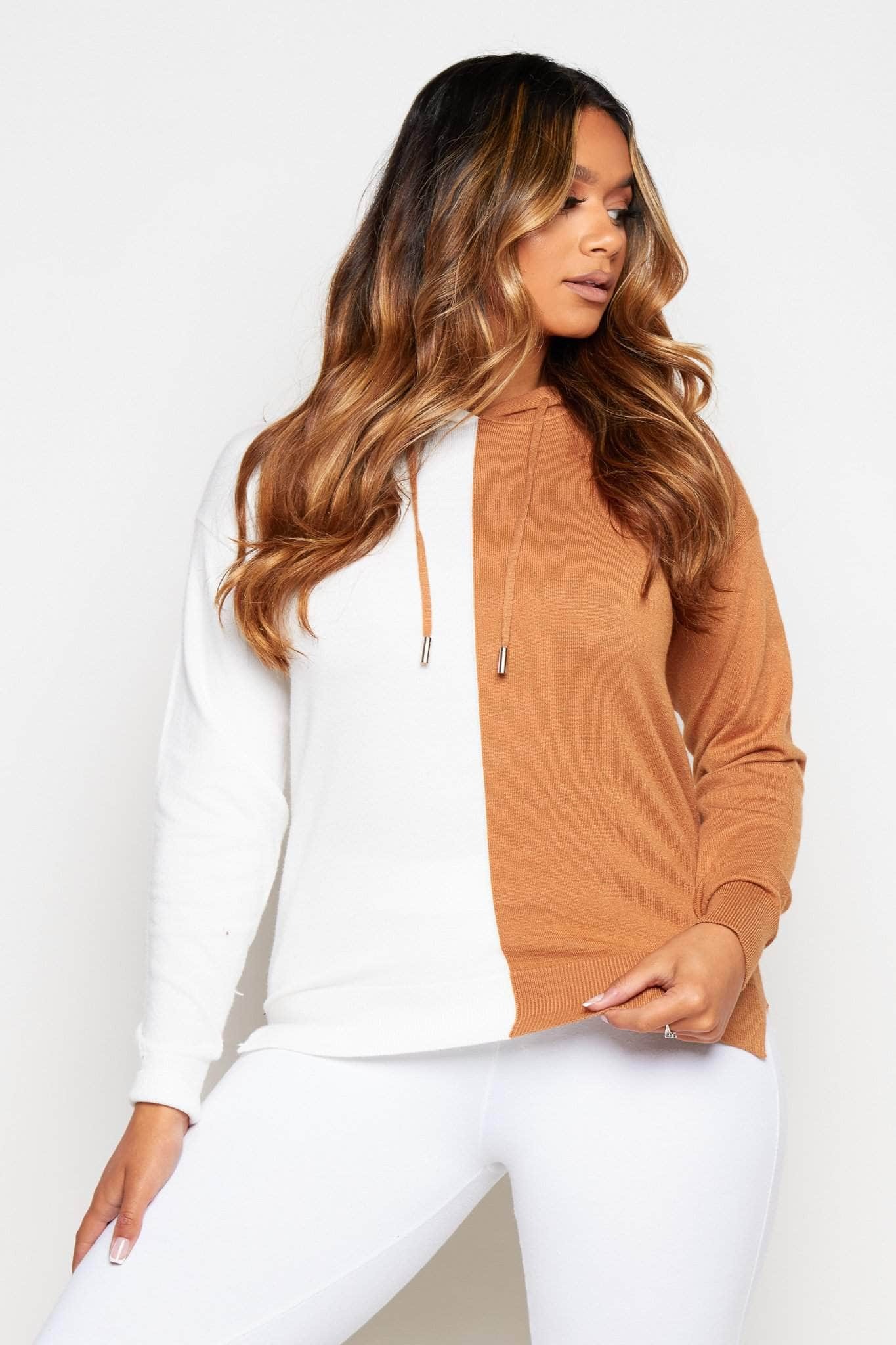 Brown Contrast Soft Knit Hooded Jumper