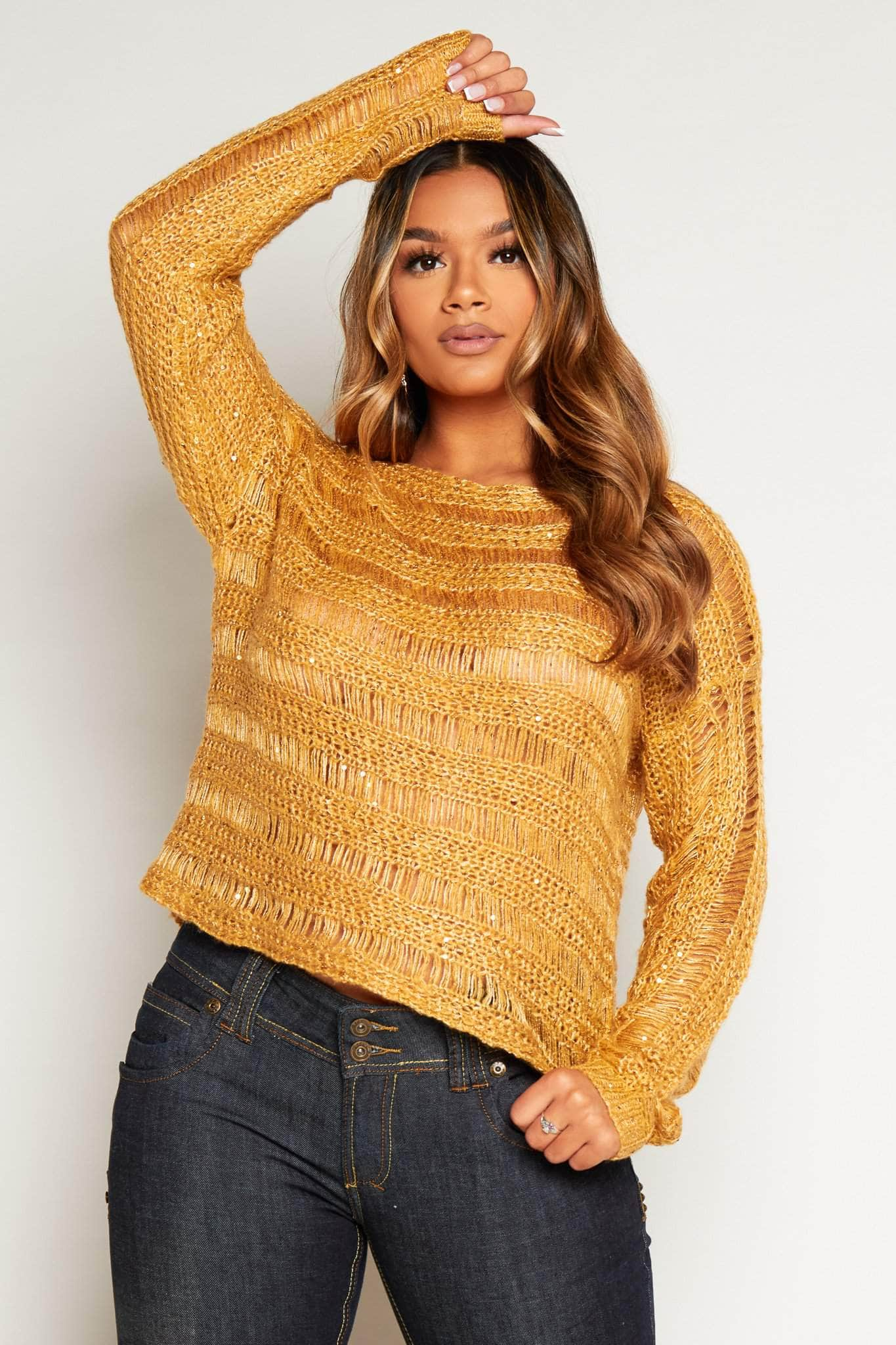 Sand Knitted Jumper with Sequins