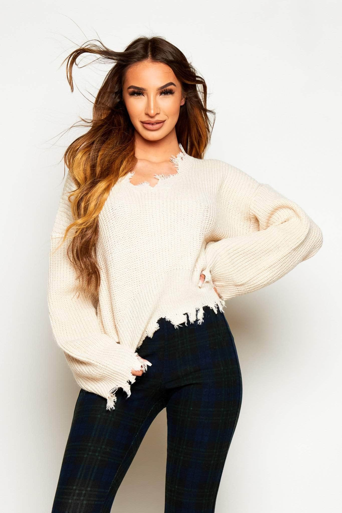 Cream Chunky Knitted Distressed Jumper