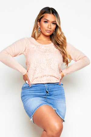 Pink Floral Lace Knitted Jumper