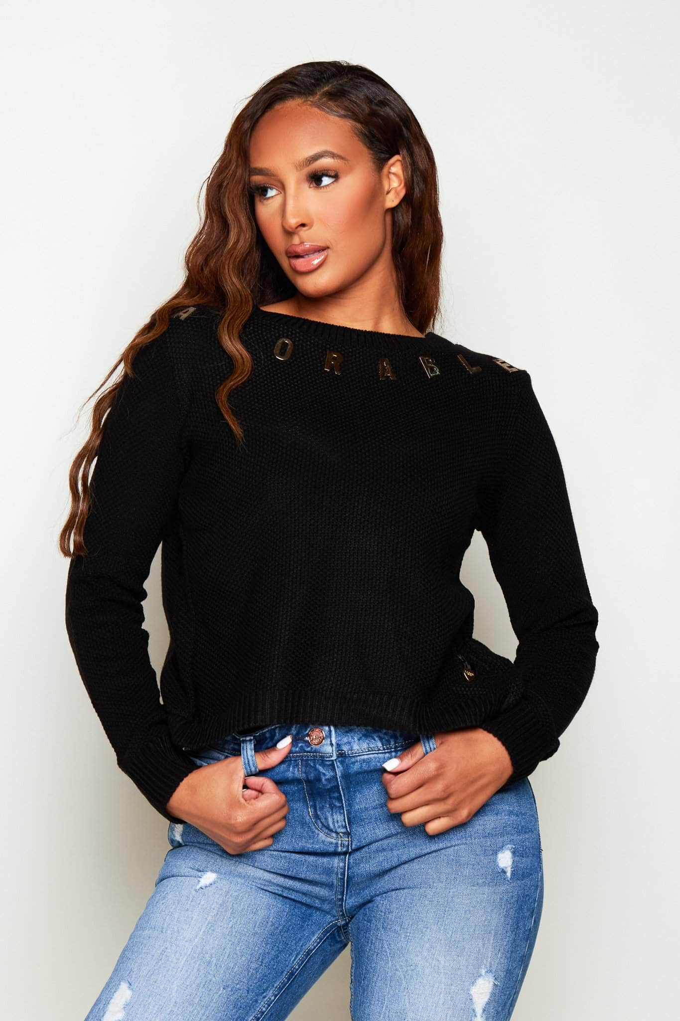 Black Adorable Open Back Knitted Jumper