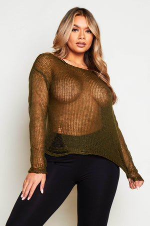 Green Distressed Knit Jumper