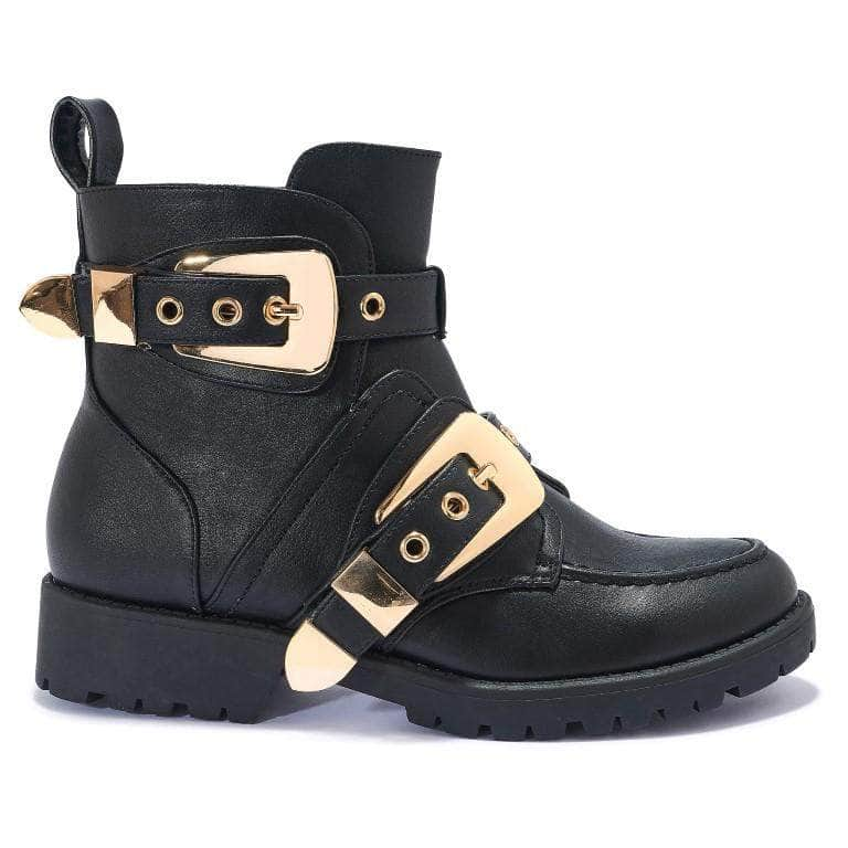 Black Buckle Detail Chunky Ankle Boots