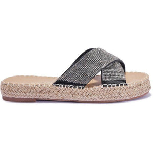 Black Diamante Cross Over Espadrille Sliders