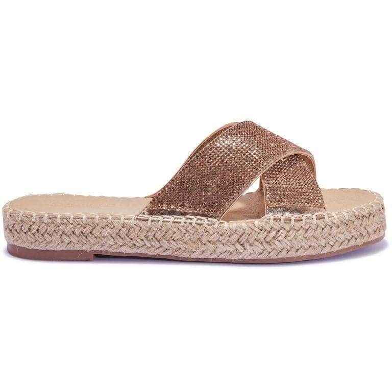 Rose Gold Diamante Cross Over Espadrille Sliders