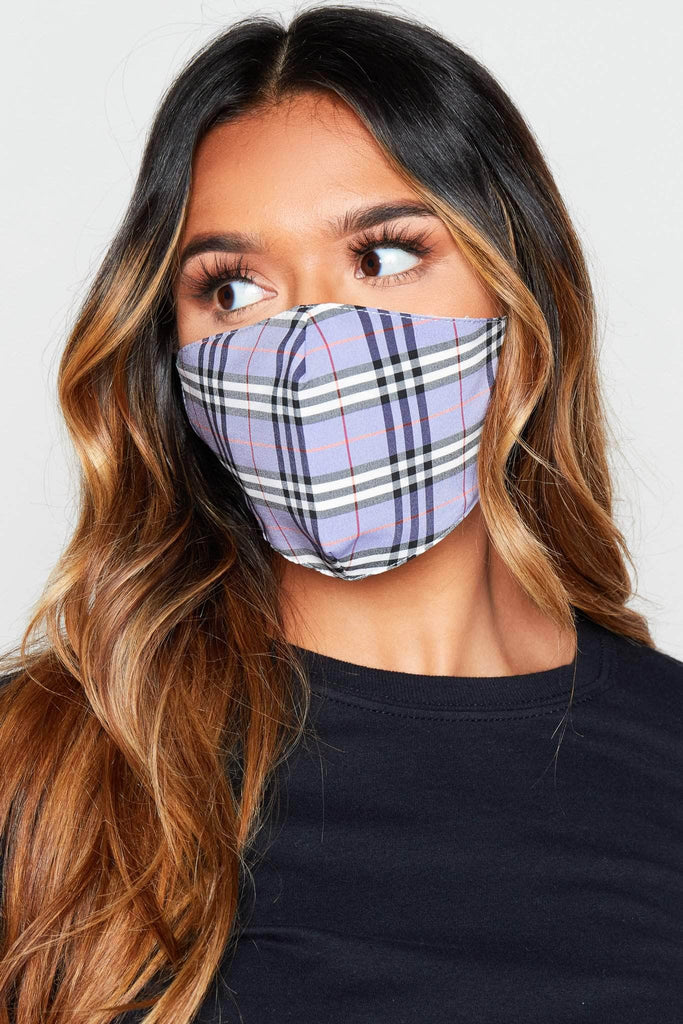 Purple Check Printed Fabric Face Mask