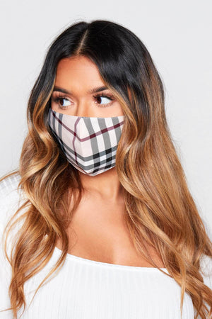Beige & Black Printed Fabric Face Mask