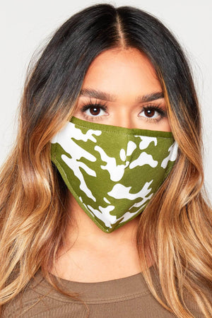 Green Camo Cotton Reusable Cloth Face Mask
